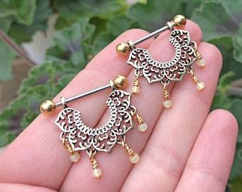 16g 14g Lotus Mandala Beaded Gold Nipple Shield Ring Nipple Piercing