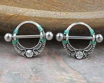 Crystal Angel Wing Nipple Shield Nipple Piercing