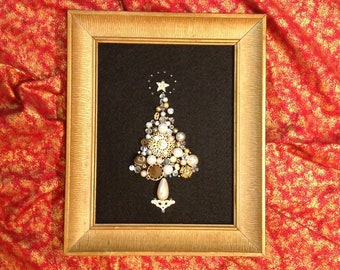 Vintage Jewelry Christmas Tree Collage Framed