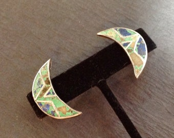 Sterling Crescent Moon Earrings Turquoise + Lapis Inlay Artist Signed