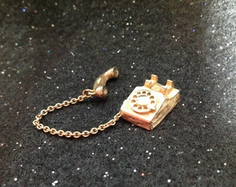 Telephone Brooch Gold Tone Pin Signed Avon