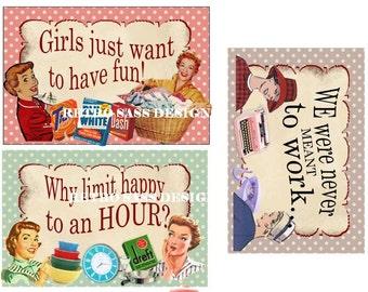 RETRO 1950'S inspired  POSTCARD set of 3 shabby chic polka dot background sassy sayings