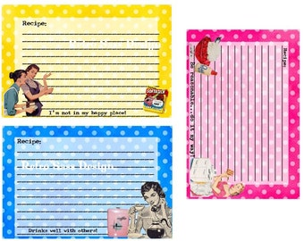 New RETRO sassy RECIPE cards BRIGHT polka dots set of 3 quirky-sarcastic humor digital delivery