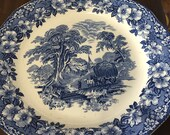 Antique Enoch Wedgwood Round Platter Woodland Tray Blue White Plate Charger FREE USA SHIPPING Everything Vintage Wedgwood Round Platters