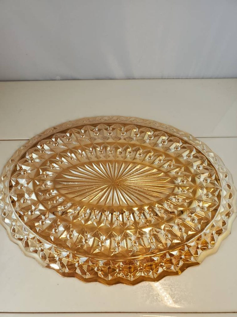 Jeannette Buttons and Bows Iridescent Gold Glass Oval Tray or Platter Holiday Pattern FREE SHIPPING @Everything Vintage