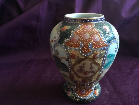 Vintage Moriage Vase Satsuma Ginger Jar Horse Men Chinese Etsy