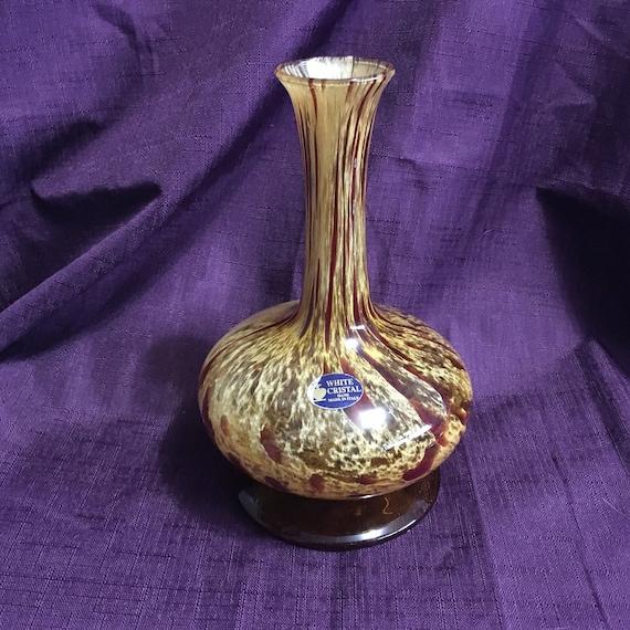 Vintage Art Glass Vase Cristal Vase Italy Caramale Brown Blue Etsy