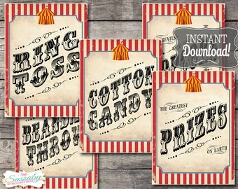 30 Vintage Circus Game/Carnival Signs Posters - Classic - INSTANT DOWNLOAD - Printable, Birthday Party, Carnival Decorations, Sideshow Alley