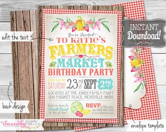 Farmers Market Invitation - INSTANT DOWNLOAD - partially Editable & Printable Food Stall, Country, Farmer, Fruit Veg, Birthday Party Invite