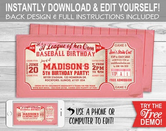 Baseball 'A League of Her Own' BIRTHDAY Invitation - INSTANT DOWNLOAD - Rockford Peaches Inspired, Editable & Printable, Girls Party,