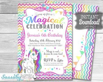 Unicorn Invitation / INSTANT DOWNLOAD / Rainbow / Partially Editable & Printable / Birthday Party Invite / Sassaby Parties