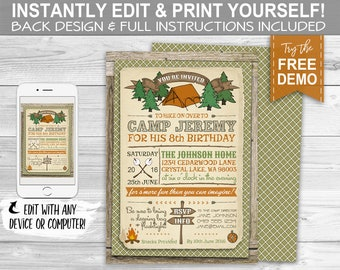 Camping Party Invitation - INSTANT DOWNLOAD -  Partially Editable & Printable Camp Out, Birthday Party Invite, Plaid, Wilderness, Summer