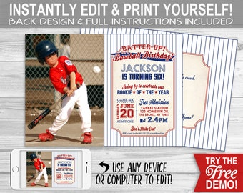 photograph about Free Printable Baseball Birthday Invitations referred to as Baseball invitation prompt obtain Etsy