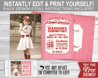 A League of Her Own Baseball Invitation - INSTANT DOWNLOAD - Edit & Print, Photo, Rookie, Birthday Party Invite, Rockford Peaches, Batter Up