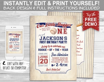 Vintage Baseball Invitation - INSTANT DOWNLOAD - Edit & Print, Rookie, Big One, 1st Birthday, Party Invite, First Bday, Little Slugger