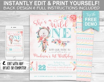 Wild One Boho Invitation, 1st Birthday Dreamcatcher - INSTANT DOWNLOAD - Editable & Printable, Rustic, Floral, Southwest Party Invite