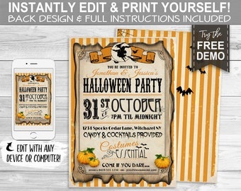 Halloween Party Invitation - INSTANT DOWNLOAD - Editable & Printable, Pumpkin Harvest, Vintage Invite, Costume, Carnival, Stripes