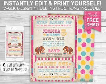 Vintage Circus Invitation - INSTANT DOWNLOAD - Edit & Print, Carnival, Elephant, Big Top, Birthday Party Invite, Step Right Up Greatest Show