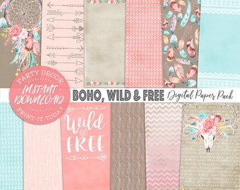 Boho Chic Paper Pack 12 Digital Sheets - INSTANT DOWNLOAD - Dreamcatcher, Bohemian, Scrapbooking, Cards, Birthday, Planner, Stickers, Invite