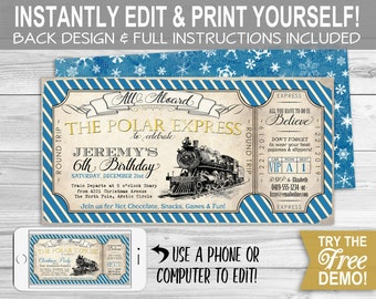 Polar Express Party Invitation Instant Download Partially Etsy