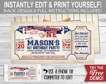 Vintage Baseball 1st BIRTHDAY Invitation - INSTANT DOWNLOAD - Editable & Printable, First Bday, One, Ticket, Party Invite, Little Slugger