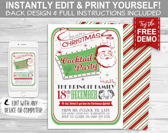 Retro Christmas Cocktail Party Invitation - INSTANT DOWNLOAD - Partially Editable & Printable Holiday Christmas Party Decorations, Invite