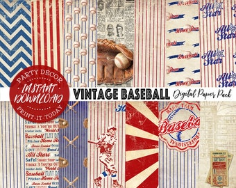 Vintage Baseball Paper Pack - INSTANT DOWNLOAD - 14 Digital Sheets, Printable, Scrapbooking, Cards, Birthday, Planner, Stickers, Invitations