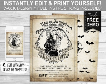 Halloween Vintage Party Invitation - INSTANT DOWNLOAD - Edit Print Yourself, Witch, Scary, Invite, Double Toil Trouble, Bats, Spooktacular