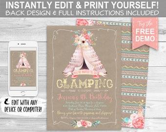 Boho Glamping Invitation, Birthday Sleepover - INSTANT DOWNLOAD - Editable & Printable, Rustic, Floral, Southwest, Slumber Party Invite