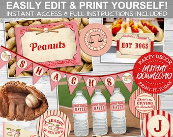 Girls Baseball 'A League of Her Own' Party Pack - INSTANT DOWNLOAD - Editable & Printable, Rockford Peaches, Birthday, Baby Shower Decor