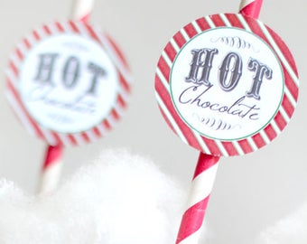 Polar Express Red Hot Chocolate Party Circles, Favor Tags, Cupcake Toppers - INSTANT DOWNLOAD - Printable Christmas Decorqations