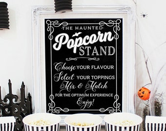 Haunted Popcorn Stand Poster & Labels - INSTANT DOWNLOAD - Printable Halloween Party Sign, Scary, Chalkboard, Horror Movie Night Decorations