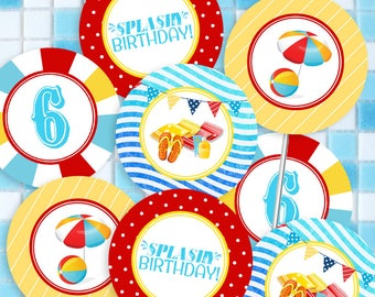 Pool Party Circles/Cupcake Toppers - INSTANT DOWNLOAD - Editable & Printable Birthday Decorations, Beach, Summer Decor by Sassaby Parties