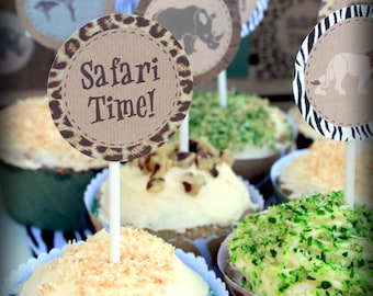 Safari Party Circles Cupcake Toppers