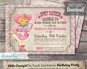 Cowgirl invitation etsy little cowgirl invitation instant download partially editable printable pink rodeo country birthday party invite by sassaby parties filmwisefo