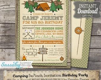 camping invitations etsy