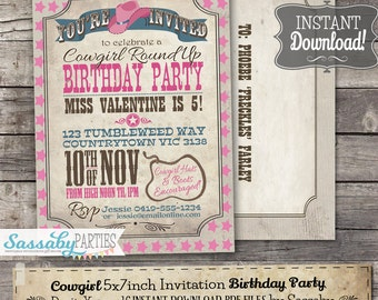 Cowgirl invitation etsy cowgirl invitation instant download partially editable printable pink birthday party rodeo roundup invite by sassaby parties filmwisefo