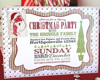 Retro Vintage Christmas Invitation - INSTANT DOWNLOAD - partially Editable & Printable Party Family Invite by Sassaby Parties
