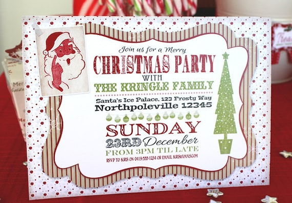 image about Printable Christmas Invitations identify Retro Classic Xmas Invitation - Prompt Down load