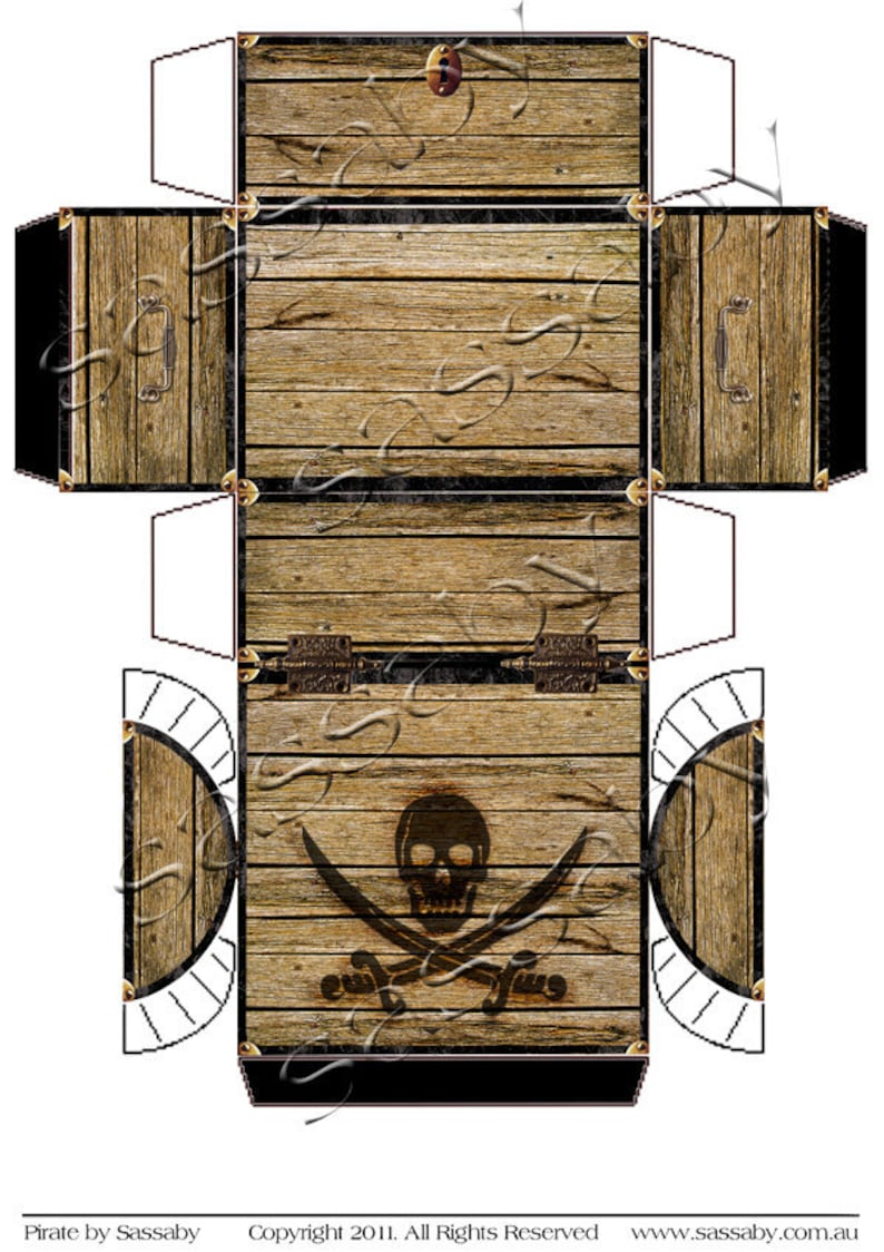 photo regarding Printable Treasure Chests referred to as Pirates Treasure Upper body Box - Quick Down load - Printable Birthday Bash Desire Present Decoration Template by way of Saby Functions