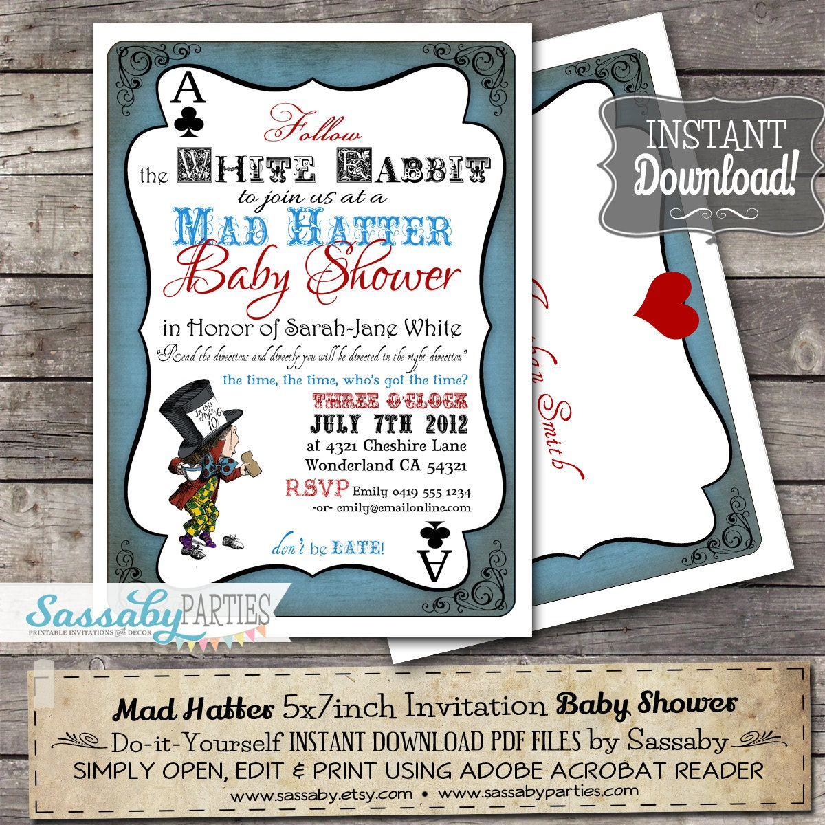 Mad Hatter Baby Shower Invitation INSTANT DOWNLOAD | Etsy
