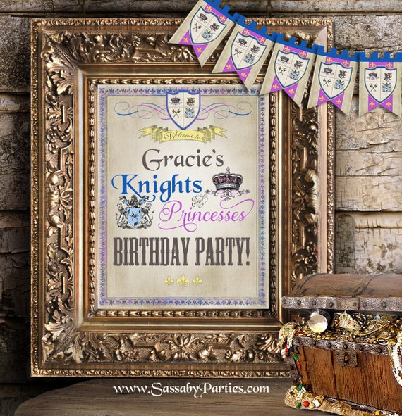 Knights & Princesses Party Sign - INSTANT DOWNLOAD
