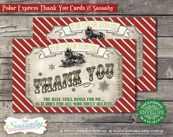 Polar Express Thank You Card Red Birthday or Christmas Party -  INSTANT DOWNLOAD - Editable/Printable Decorations by Sassaby Parties