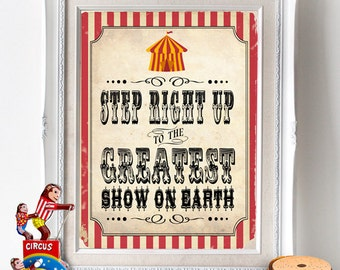 Vintage Circus Party Posters- INSTANT DOWNLOAD - Printable Carnival Party Sideshow Alley Signs Decor Decorations by Sassaby Parties