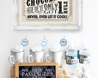 Polar Express Hot Chocolate Pack Blue - INSTANT DOWNLOAD - Editable & Printable Birthday Christmas Party Decorations by Sassaby Parties