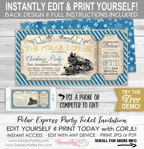 picture about Polar Express Tickets Printable named Polar Specific Bash Invitation - Fast Down load