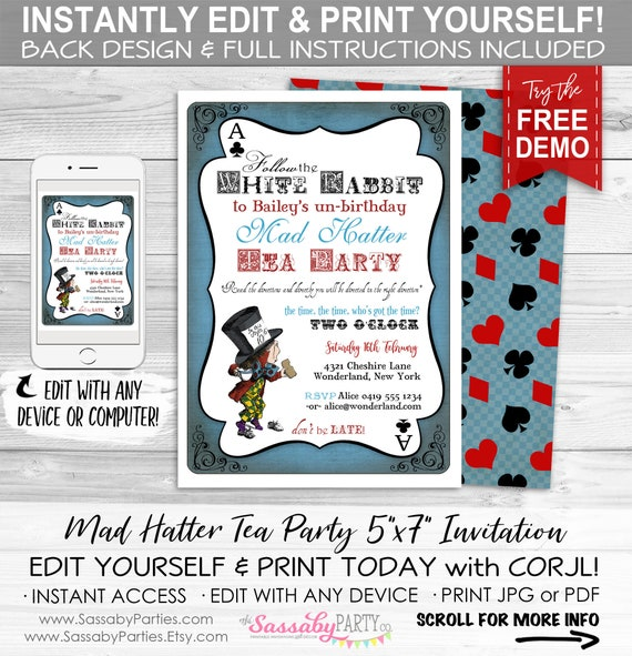 5x7 Personalize at home with Adobe Reader Alice in Wonderland Invitation Editable PDF File Instant Download