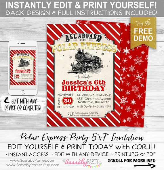 Polar Express Invitation Red Instant Download Partially