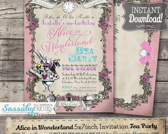 Alice in Wonderland Invitation / Pink Pastel / INSTANT DOWNLOAD / Partially Editable & Printable / Birthday Party Invite / Tea Party