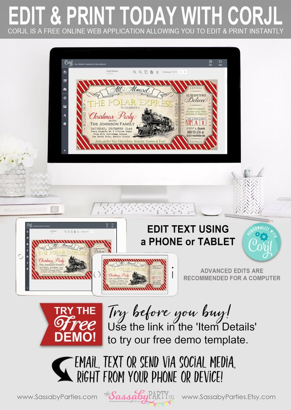 Polar Express Ticket Invitation Instant Download Partially Editable Printable Holiday Party Christmas Xmas Invite Train Believe